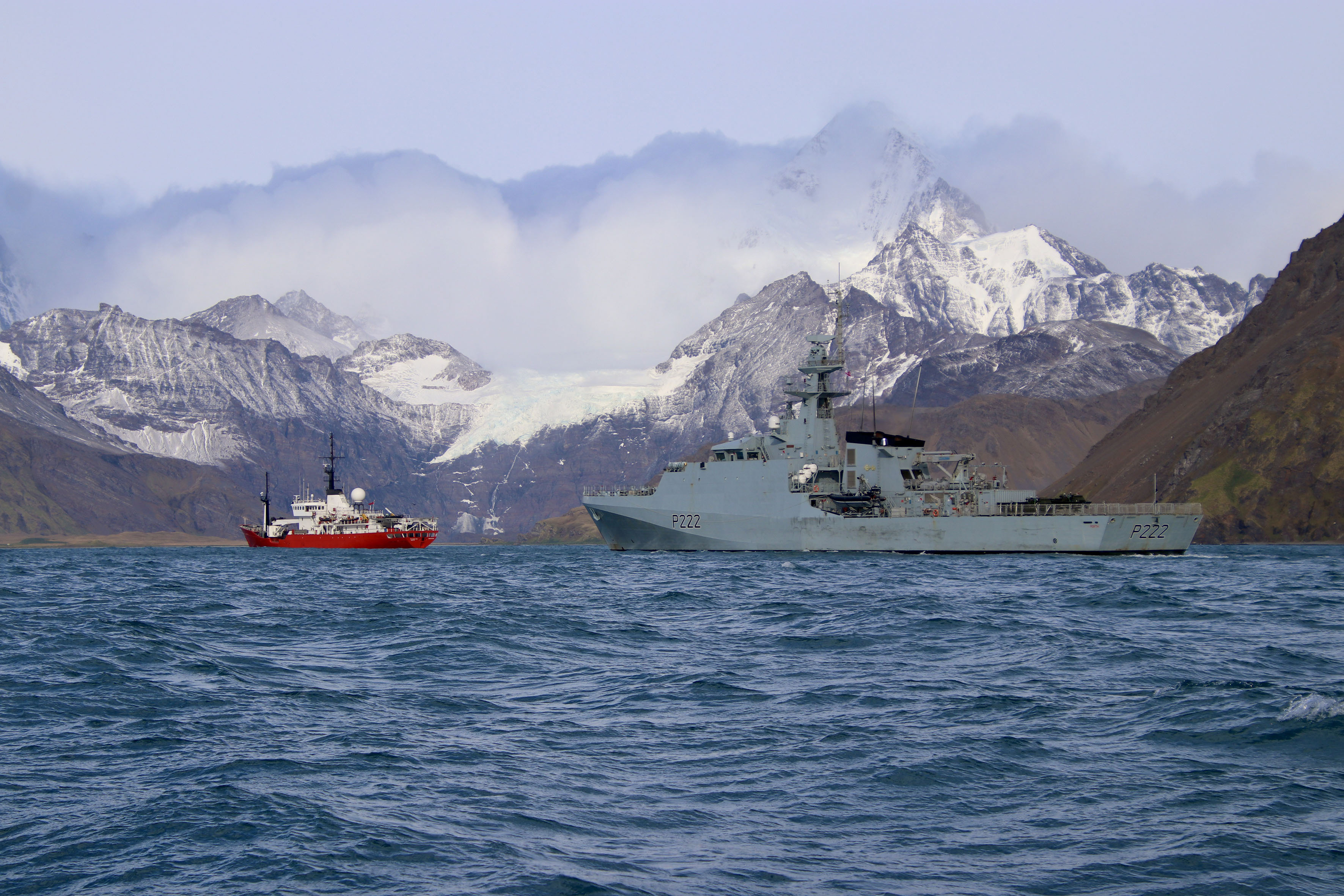 HMS Forth with fishery protection ship Pharos off the South Georgia coast